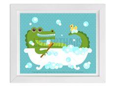 275 Bath Print Alligator In Bubble Bath Wall Art By Leearthaus