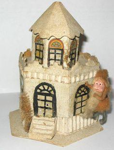 EARLY VINTAGE CHRISTMAS SIX SIDED PUTZ HOUSE WITH SPUN COTTON SANTA | eBay