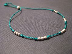 Tiny Sterling Silver Friendship Bracelet Silk Cord by SoulSilk