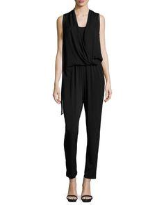 Stassi Draped Sleeveless Jumpsuit, Black