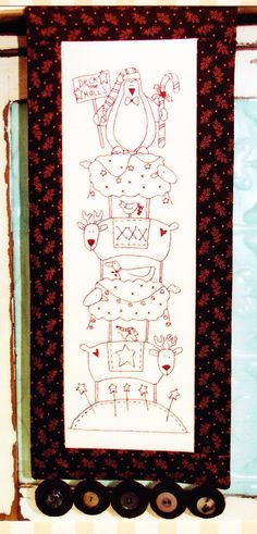 Deck the Halls - this is a quick and easy stitchery PATTERN from The Birdhouse. Included in the pattern is preprinted calico fabric ready to stitch. There is also a paper copy of the design so that you can make more than one. Finished as a fun wall hanging, this would be great as a gift or in your home for the holidays. Finished size - 8 x 22 This is a PATTERN with preprinted fabric - it has detailed instructions for making the project. The pattern in new and unopened. No responsibility is…