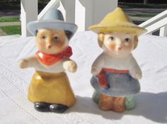 Vintage Goebel Cowboy And Cowgirl Salt & Pepper Shakers Germany 2.5 Inches Tall
