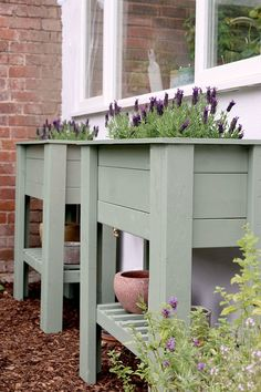 Pair of raised standing planters in green with french lavender perfect for beginners, perfect for adding height and greenery to a patio or balcony and to create an easier way to grow herbs or flowers for those who have issues with mobility. #diy #diygarden #planter #diyplanter #diyraisedplanter #raisedstandingplanter #raisedbed #raisedbeddiy #uk Raised Planter Beds, Raised Beds, Outdoor Living, Outdoor Decor, Outdoor Furniture, Backyard Garden Design, Outdoor Projects, Craft Projects, Diy Planters