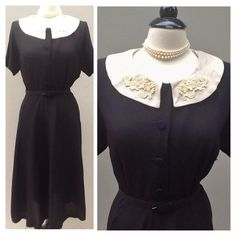 Vintage 1950s // Day Dress // Black Linen Day by MyrtleMalloy