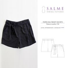 Paper Bag Waist Shorts Sewing Pattern | Salme Sewing Patterns