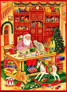 Santa and his Cat  Christmas advent card made in Germany - Beautiful Vintage!