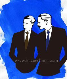 Men's Fashion illustration. Men's black suits, straight lines. (Material: water color, pencil, photoshop)