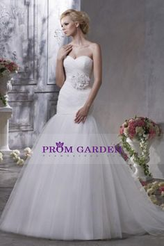2013 Sassy Sheath/Column White Sweetheart Tulle Wedding Dress With Sweep Train $260.18 PGNPEK96NJB - PromGarden.com