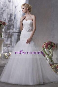 2013 Sassy Sheath/Column White Sweetheart Tulle Wedding Dress With Sweep Train $260.18 PGNPEK96NJB - PromGarden.com