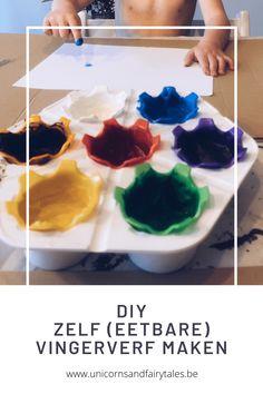 DIY / Zelf (eetbare) vingerverf maken Play Dough, Sensory Play, Diys, Breakfast, Food, Morning Coffee, Bricolage, Essen, Do It Yourself