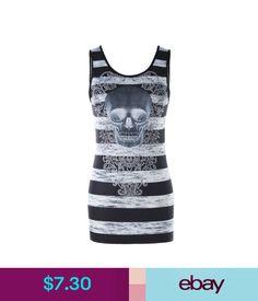 Tops Women Stripe Skull Printed Tank Tops Sleeveless Tunic Top M L Xl 2Xl #ebay #Fashion