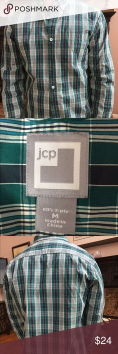 JCP plaid mans shirt JCP mans shirt. In blue, green and white plaid, new without tags, never worn Shirts Casual Button Down Shirts