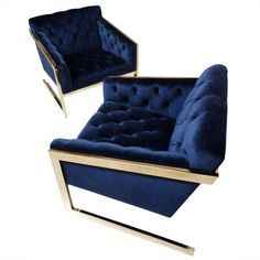 Pair of Brass & Velvet Tufted Lounge Chairs after Milo Baughman