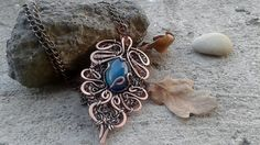 Copper Pendant Piece Of Clouds In The Fairy Leaf by Tangledworld