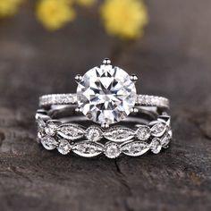 3pcs 8mm Round Cut Moissanite Engagement Ring,6 prongs set - BBBGEM Moissanite Bridal Sets, Moissanite Wedding Rings, Bridal Ring Sets, Bridal Rings, Diamond Wedding Bands, Diamond Engagement Rings, Wedding Sets, Bar Recipes, Jdm