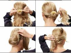 haare-hochstecken-lange-blonde-haare-hochsteck-diy-schwarze-bluse-frau