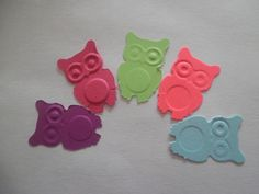 100 Punchy Colors embossed owl confetti by Jenifersfunstuff, $2.75