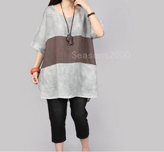 loose fitting women grey linen shirt 1/2 sleeve by seasons2000, $49.00