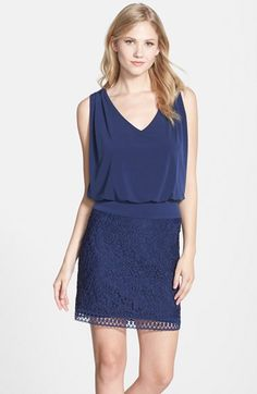 Laundry by Shelli Segal Lace & Jersey Blouson Dress available at #Nordstrom