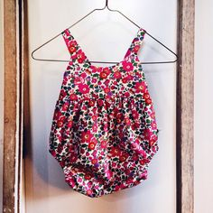 The Ivy Romper cross over back in Liberty Art fabric. Girls jumper.