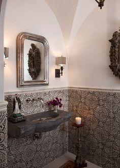 Montecito – Ryan Street Architects Spanish Style Bathrooms, Spanish Bathroom, Mediterranean Bathroom, Spanish Style Homes, Spanish Colonial, Spanish Bungalow, Spanish Revival, Mediterranean Homes, Ceramic Tile Floor Bathroom