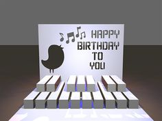 Happy Birthday Piano 3D Popup SVG Cutting File by MyCasualWhimsy