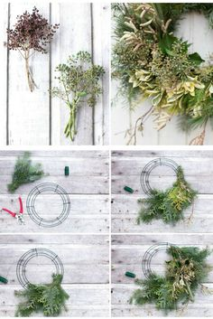 Step-by-step guide to making a DIY holiday wreath using greens and foraged natural materials.  Design and tutorial by Floret.