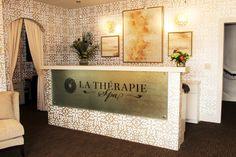 La Therapie spa reception area Spa Reception Area, Entryway Tables, Home Decor, Decoration Home, Room Decor, Spa Reception, Entry Tables, Interior Decorating