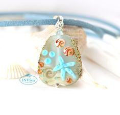 Seashell beach pendant, Seaglass blue beaded sea jewelry, Necklace with starfish, One of a kind handmade lampwork glass jewelry Beach Jewellery, Sea Jewelry, Glass Jewelry, Glass Beads, Sea Glass Necklace, Sterling Silver Chains, Starfish, Sea Shells, Pendant