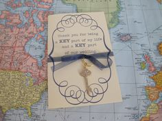 vintage key bridesmaid card