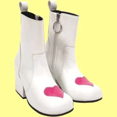 Wear your heart on your. The UNIF Moxie Heart boot. Mod-inspired vinyl ankle boot with ring zipper pull and appliqué heart on toe box. Mod Shoes, Crazy Shoes, Shoes Heels, Punk Shoes, White Gogo Boots, Ankle Booties, Bootie Boots, Boating Outfit, Fresh Shoes