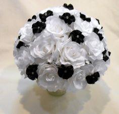 White and Black Wedding Bouquet, Bridal Bouquet, Bridesmaid Bouquet, White and Black Bouquet, Alternative Bouquet, Alternative Wedding   Let us create a bouquet for you tha...