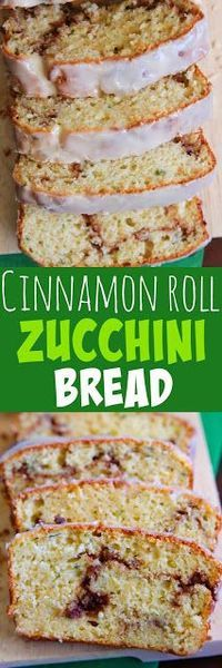 Cinnamon Roll Zucchini Bread - A moist quick bread with a gooey cinnamon sugar swirl.