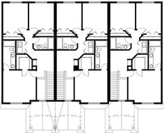 triplex house plans, small townhouse plans, triplex house plans