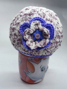 Girl Hat   Variegated  Lilac With Crochet Flower , $15.99
