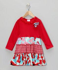 Loving this Red Wild Butterfly Tiered Dress - Girls on #zulily! #zulilyfinds
