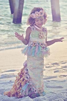 Reserved Listing for Desiree-OCEAN'S SECRET MERMAID Costume-Dress Up, Portraits, Birthday, Pageant, Halloween-Little Girls (sizes 2-8). $290.00, via Etsy.