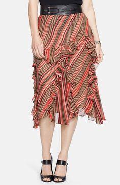 Lauren Ralph Lauren Ruffled Midi Skirt (Plus Size) available at #Nordstrom