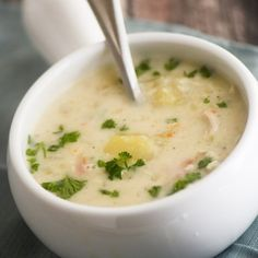 Knoephla Soup is a traditional North Dakota German soup, made with dumplings and potatoes.
