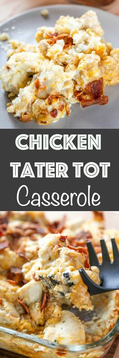 Chicken Tater Tot Casserole: Crunchy bacon and ranch chicken come together in this creamy casserole. A quick & easy, but filling family dinner. via Baking Beauty (Krystle) Casserole Recipes, Crockpot Recipes, Chicken Recipes, Cooking Recipes, Chicken Meals, Recipe Chicken, Chicken Bacon, Casserole Dishes, Yummy Recipes