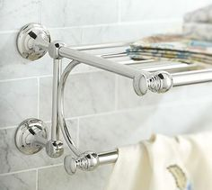 Mercer Train Rack #potterybarn- this would answer your towel problem. Would you consider doing a train rack in your shower?