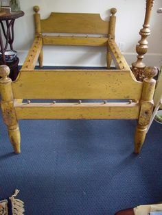 mustard painted rope bed, c. 1800's But there is an awesome page with directions how to DIY a period rope bed to take to your next event! Info here http://daviddfriedman.com/Medieval/Articles/rope_bed/rope_bed.htm