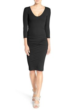 Free shipping and returns on James Perse V-Neck Ruched Dress at Nordstrom.com. Garment dyed with softener for a comfortable, lived-in feel, this casual-chic stretch jersey dress features ruching at the side for a figure-flattering fit.