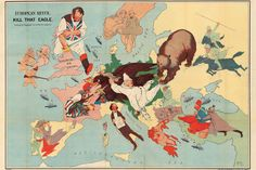 Amschewitz (J. H.) | Kill That Eagle | 1914 This map shows Germany and her allied powers, Austria and Turkey, beset on all sides by the Allies. At the centre of the conflict is Germany in the shape of an eagle and the Austro-Hungarian Empire as a fallen clown being attacked by the Russian bear and the Serbian terrier.