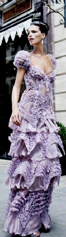 HAUTE FLASH lilac purple ruffled gown dress Valentino Fall 2007