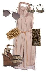summer look-- love this blush pink... Prob do a nude shoe, keep leopard bag, and change the jewelry to a large gold cuff bracelet, and fore-go the earrings :)