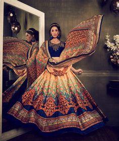 Multicolor banglori silk digital printed unstitched lehenga choli