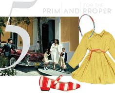 Clockwise from left:Dolce & Gabbana striped canvas Mary Jane flat, from $331luisaviaroma.comOscar de la Renta headband, $30oscardelarenta.comCaramel Baby & Child Tyne dress, $134caramel-shop.co.uk -