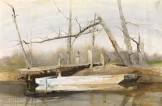 Andrew Wyeth (1917 — 2009, USA) Riverboat. 1963 watercolor and drybrush on paper.  17 x 26 in. (43.2 x 66 cm.)