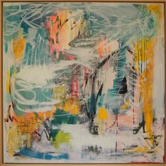 Calm Before the Storm - Leslie Alterman. 37 x 37 (frame) inches. Acrylic, gouache, oil, and pastel on gallery wrapped canvas. $1,750 #abstract #contemporary #design #expressionism